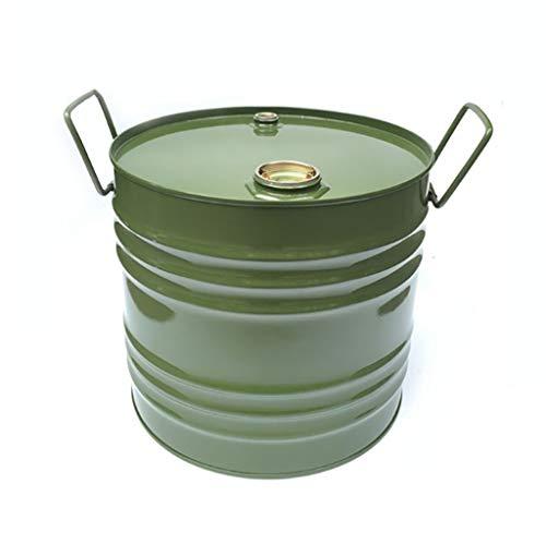 35L Vertikale Runde Kraftstoff Barrel, Beweglicher Benzinkanister, Metallbenzintank, Ersatzkraftstofftank Verdickte - for Benzin Und Diesel