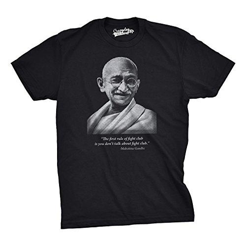 Crazy Dog T-Shirts Gandhi Fight Club First Rule T Shirt Funny Movie Parody Shirt L Black