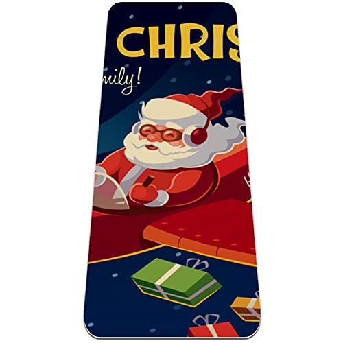 Esterilla gruesa para yoga, 6 mm, esterilla para ejercicios y ejercicios, (72 'L x 24' W x 1/4 pulgada), Merry Christmas Santa Claus Plane