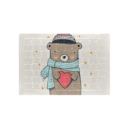 HJHJJ Puzzles Niedlicher Winter Teddy Bearhand gezeichneter Vektor Kinder Erwachsene Erwachsene Puzzles Pädagogische intellektuelle Dekomprimierung Spaß Familienspiel