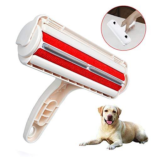 Haustier Haarentferner Bürste mit Doppelseitig Tierhaar Fusselrolle Reiniger Wiederverwendbare Hund und Katze Entfernen Fusselbürste mit selbstreinigender basis für Couch/Teppich/Kleidung/Bett Möbel