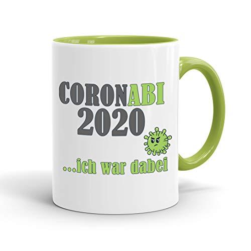 True Statements Tasse Coronabi 2020 ich war dabei - schöne Tasse als Geschenk zum Abitur, innen hellgruen