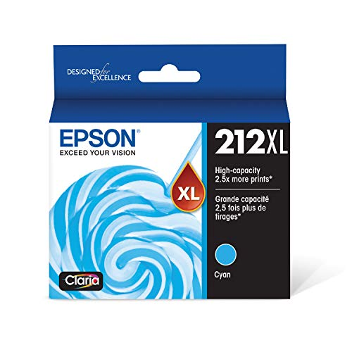 EPSON T212 Claria Ink High Capacity Cyan Cartridge (T212XL220-S) for Select Epson Expression and Workforce Printers