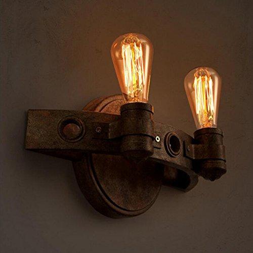 ZWL Rétro Applique, Style Industriel Applique Réglable Applique Fer Applique Murale Chambre Bar Restaurant Café Club Mur Lampe Brun Couleur Double Tête E27 Douilles 30 * 20 CM mode (taille : #1)