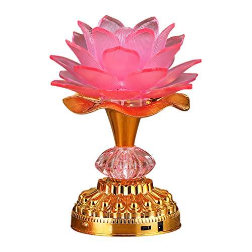 Omeet 7 Colorful LED Lotus Buddhist Lamp, Buddha Lotus Light, Buddhist Supplies - Pink
