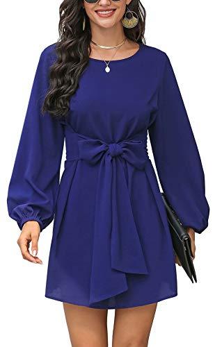 Vestido feminino de outono inverno bufante manga comprida elegante colado ao corpo com laço na cintura, Azul, M