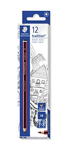 STAEDTLER 110-6B Tradition Bleistifte Härtegrad 6B 12 Stück