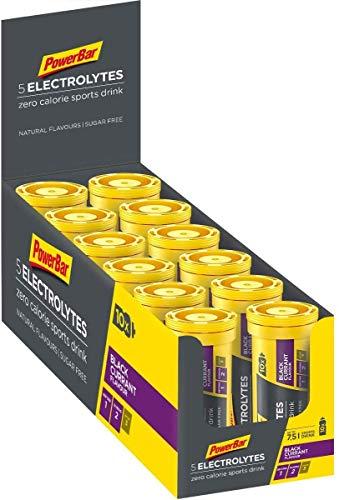 PowerBar Elektrolyte Tabletten 5 Electrolytes – Brausetabletten mit 5 Mineralstoffen – Erfrischender Drink mit Natrium, Chlorid, Kalium, Magnesium und Calcium – Schwarze Johannisbeere (12 x 10 Tabs)