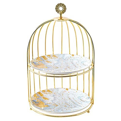 2 - Tiers Iron Cupcake Stand, Scaffale Per Stoccaggio Cosmetico, Oro Ceramica Dessert Frutta Caramella Display Piastra Decorazione Piatto Per Matrimonio, Compleanno, Festa(Size:8.5x14.4Inch)