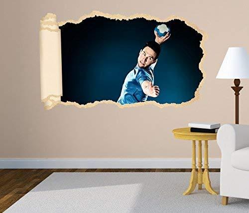 3D Wandtattoo Handball Sprungwurf Wurf Spieler Tapete Wand Aufkleber Wanddurchbruch Deko Wandbild Wandsticker 11N1659, Wandbild Größe F:ca. 97cmx57cm