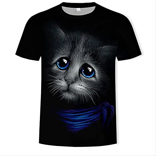 XSHUHANP Herren T-Shirts 3D Druck Harajuku Style Frauen/Männer 3D Katze T-Shirt Print Tier Katze T-Shirt Casual Lustiges T-Shirt 3D Grafik T Shirts XL