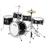 Ashthorpe 5-Piece Complete Kid's Junior Drum Set with Genuine Brass Cymbals - Children's Professional Kit with 16' Bass Drum, Adjustable Throne, Cymbals, Hi-Hats, Pedals & Drumsticks - Black