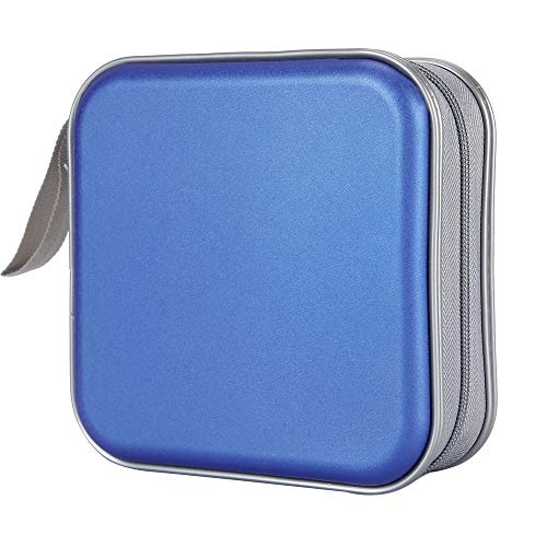 Bivisen CD Case, DVDs Wallet Holder, CD/DVD Case Wallet 40 Discs Heavy Duty Bag Binder Storage Booklet Album (Blue)