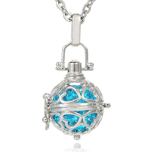Morella® Damen Halskette Edelstahl 70 cm mit Herz-Kugel Anhänger und Klangkugel Zirkonia türkis Ø 16 mm in Schmuckbeutel