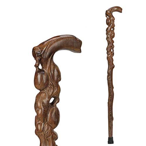 Palillo de la caña de Madera, bastón de Madera Maciza, Madera de ala de Pollo, de Madera Antideslizante, Abuela/Abuelo, 90 cm, a TINGG