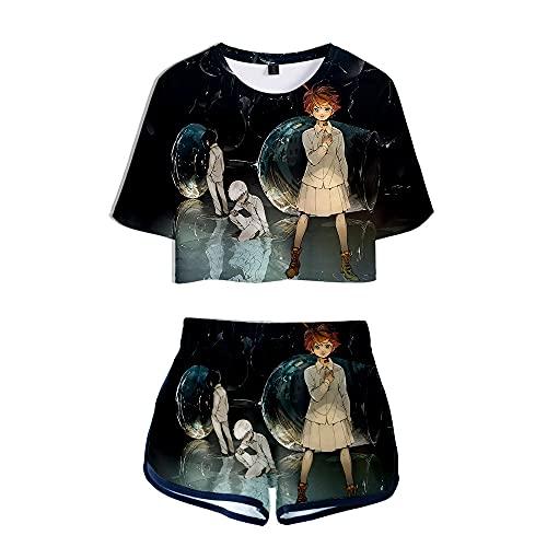 NLJ-lug The Promised Neverland Camiseta De Cosplay Camisas + Pantalones Cortos Conjuntos...