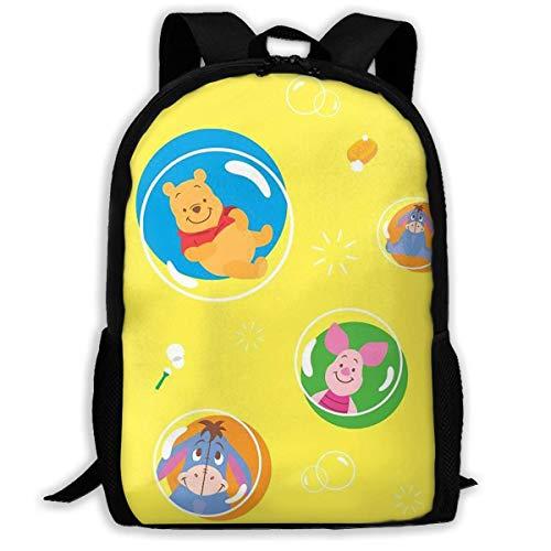 Beating Heart Mochila Escolar, Regalo Casual de la Mochila del Viaje del Bolso de Escuela de la Mochila de Encargo de Winnie Pooh Bubble