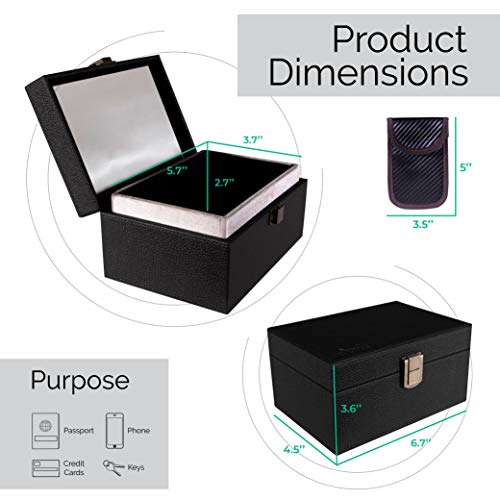 Faraday Box and Pouch - PortableRFID Key Fob Protector Box - Protects Remote Car Keys and Keyless Fobs from Scanners and Thieves- Dual-Layer Signal Blocker, Blocks All Electronic Signals.