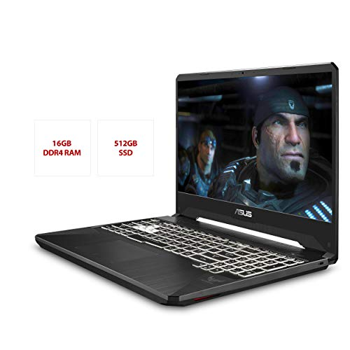 "Product Image 1: ASUS TUF Gaming Laptop, 15.6"" 120Hz FHD IPS-Type, AMD Ryzen 7 3750H, GeForce RTX 2060, 16GB DDR4, 512GB PCIe SSD, Gigabit Wi-Fi 5, Windows 10 Home, FX505DV-ES74"