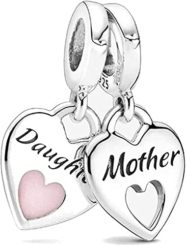 MsRosy Colgante para madre e hija para pulsera, compatible con pulseras Pandora y todas las pulseras europeas, dos auténticas de plata de ley 925