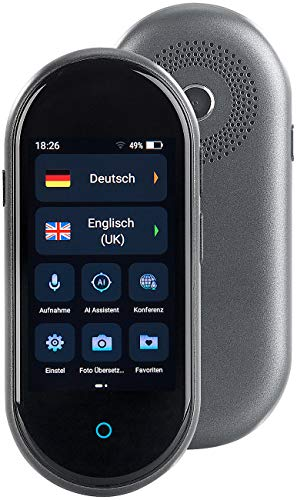 simvalley MOBILE Sprachenübersetzer: Mobiler Echtzeit-Sprachübersetzer, 105 Sprachen, Touchscreen, Kamera (Sprachcomputer)