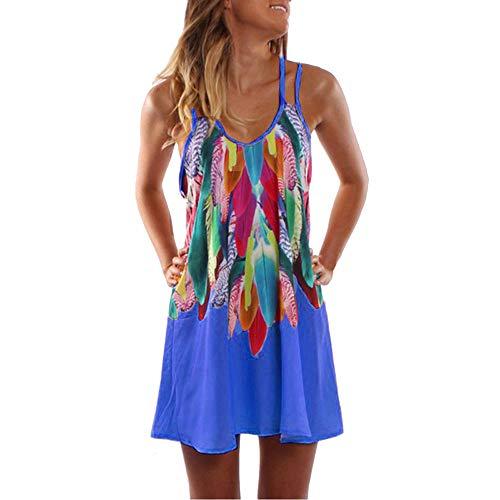 Aiserkly Sommerkleid Damen Sommer Casual Kleid Sexy Mini Trägerkleid Boho Bedruckte Strandkleid Freizeitkleid Party Cocktail Kleider Blau M