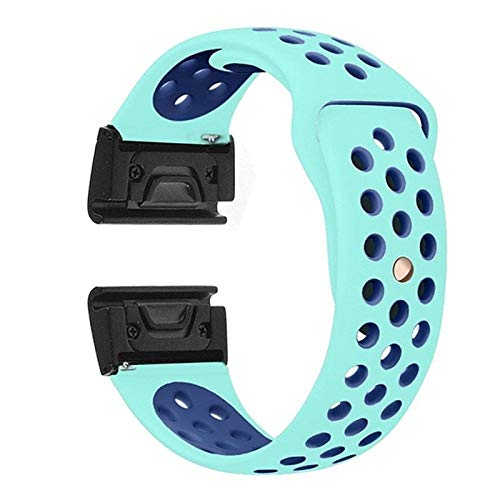 MPWPQ Silicone Watch Band Strap Strap Reemplazo de reemplazo Formin Fenix 6 6X 6S Pro 5X 5X 5S Plus Sport Smart Watch Pulsera Reloj Correa (Band Color : Mint Blue, Band Width : 26mm)