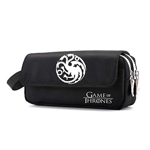 Game of Thrones Federmäppchen Student reißverschluss multifunktions tragbare schreibwaren Aufbewahrungstasche leinwand federbeutel (Color : Black03, Size : 20 X 6 X 10cm)
