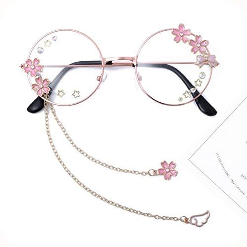 YUNGYE Marco de los vidrios de Lolita Dulce Linda Colgante Japonesa Suave Chica Ronda Arco Marco de los vidrios del Animado de Cosplay de Exposiciones (Color : Cherry Blossoms)