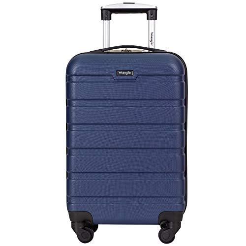 "Wrangler 20"" Carry-On Rolling Hardside Spinner Luggage Navy"