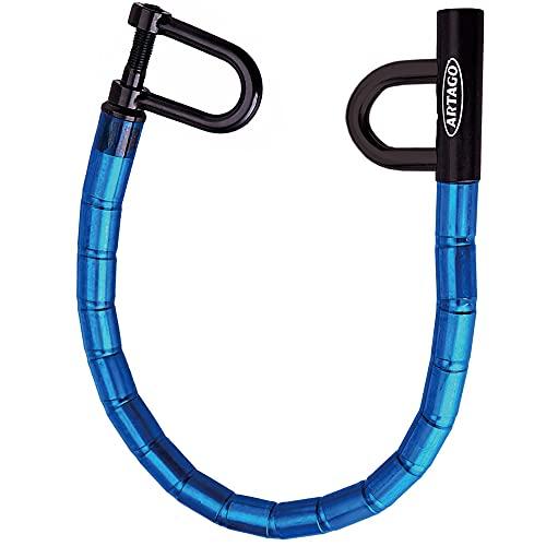 Artago 582 B Antirrobo Coche Volante Asiento Universal Blindaje de Acero Articulado Cerradura Seguridad con Bola Anti-Taladro, Azul y Negro