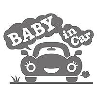 imoninn BABY in car ステッカー 【シンプル版】 No.25 クルマさん (シルバーメタリック)