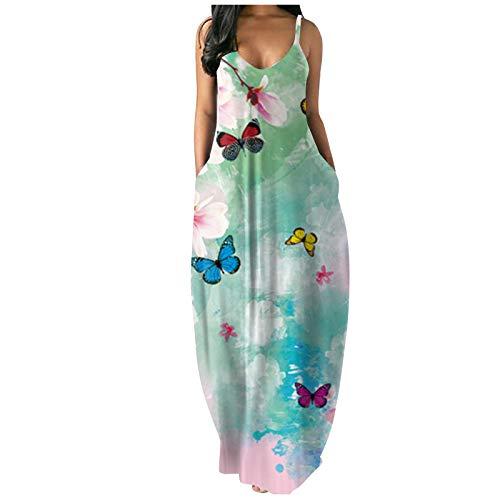 MEIbax Mujer Vestido Casual Largo Sexy Vestido Boho Floral con Cuello en V de Playa Vestido/Color Sólido Falda Larga/Vestido de Tirantes Estampado Verano Playa Fiesta Vestido de Cóctel de Noche