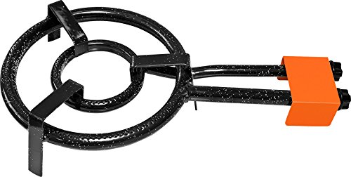 Garcima Paella Anillo Doble Quemador de Gas Natural, 30cm, Negro, Juego de 6
