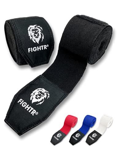 FIGHTR® Premium Boxbandagen max. Stabilität und Sicherheit | 4m halb elastische Boxing Gloves mit Daumenschleife für Boxen, MMA, Mauy Thai - Box Hand Bandage Sport (Schwarz)