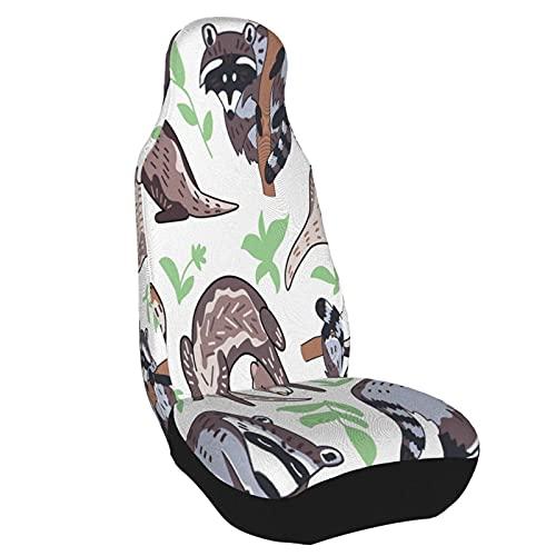 Funda de asiento para coche Lindo Marrón Bosque Animal Mustela Personajes Hojas Procyon Lotor Funda para silla de coche Protector universal para asiento delantero de coche 1PC