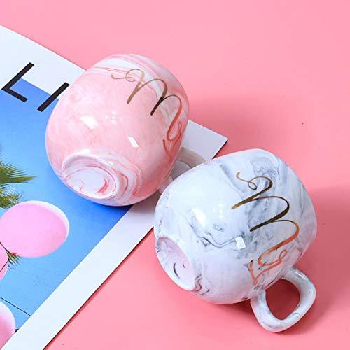 XMYNB Jarra Sr. Sra. Flamingo Pareja Copa Y Taza Caja De Regalo Cerámica Taza De Café Mármol Patrón De Mármol Regalo De Regalo De Regalo