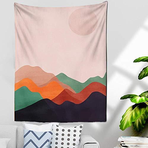 Tapiz de montaña rosa, tapices de estrellas y luna, tapiz de cielo estrellado nocturno, tapiz de paisaje de montaña, tapiz para colgar en la pared para habitación 150x100cm