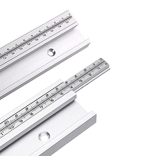 Mayyou T-Tracks con escala fija de aleación de aluminio T-Tracks ranura inglete riel mesa Sierra accesorios para carpintería DIY herramientas