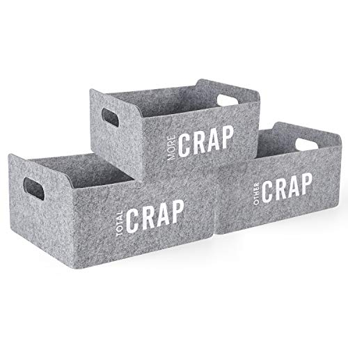 Welaxy Storage Baskets with funny Motivational inspiring Crap Felt Collapsible Storage Baskets Foldable Storage Cube Shelf Boxes Drawers Organizer bin for Kids Toys Books Clothes (Grey Crap x 3)