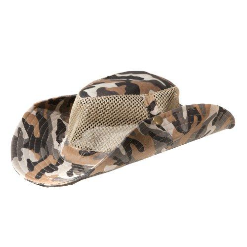Accessoryo - Camouflage Armée Impression Maillé Chapeau De Style Safari Beige