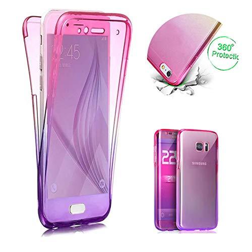 Rose + Violet TPU Coque pour Galaxy A40,2 en 1 Silicone Clair Coque pour Galaxy A40,Moiky Élégant Créativité 360 Degré Housse Complète Avant et arrière Ultra-mince Doux Gel Étui Coque