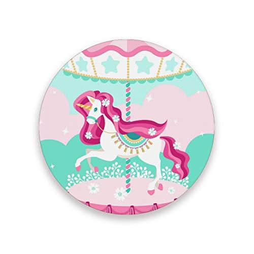FANTAZIO Leuke Eenhoorn in Carousel Cup Mat Coaster voor Wijnglas Thee Coaster met Varying Patronen Geschikt voor Soorten Mokken en Bekers 2 pieces set 1