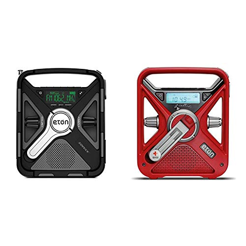 eton weather radios Eton Ultimate Camping AM/FM/NOAA Radio with S.A.M.E Technology & American Red Cross Emergency NOAA Weather Radio with USB Smartphone Charger, LED Flashlight & Red Beacon