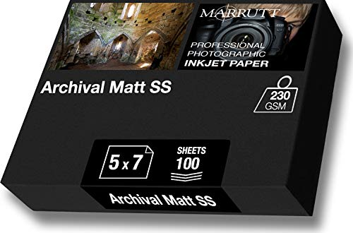 marrutt 230gsm Archivierung matt einseitig–12,7x 17,8cm, 100Blatt