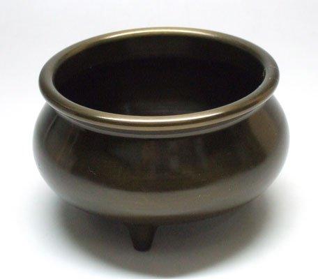 京仏壇はやし 仏具 つぼみ 前香炉 色付 3.5寸 真鍮製
