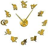 YQDSY Exquisitas Hadas Mágicas con Números de Espejo Pegatinas Diy Large Wall Reloj Nursery Childrens Wall Art Girl Room Fantasy Decorative Clock 37 Pulgadas-Gold No Tick metal