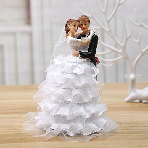 Soode Nieuwe dansende bruid en bruidegom bruiloft taart topper firgurines met bruid jurk decoratie verloving/verjaardag taart toppers