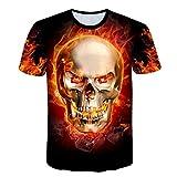 メンズ tシャツ 半袖, ユニセックスレジャーファッション半袖シャツ - 3Dプリントヘルファイアスケルトンパターン、夏は快適なパーソナリティTシャツクール おもしろ 3Dプリント Tシャツ カジュアル (Color : Multi-colored, Size : XL)