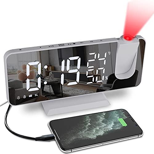 gracosy Projektionswecker Funk Radiowecker 7.3'' LED Projektionsuhr Spiegel FM Radiowecker Wecker Digital Funkuhr mit 180° Projektion, USB Ladegerät, Temperatur, Luftfeuchtigkeit, 4 stufige Helligkeit